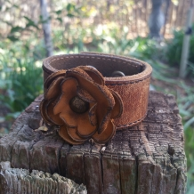 Leather cuff bracelet with 3 petal leather flower